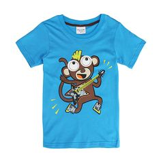Sale 12% (5.99$) - 2015 New Lovely Monkey Baby Children Boy Pure Cotton Short Sleeve T-shirt Top