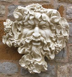 Garden Ornaments : Green Man Garden Ornaments : Stone Face Garden Ornament 'Bacchus'