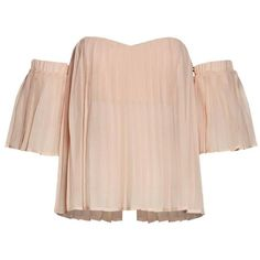 Pleated Off-Shoulder Top ($50) ❤ liked on Polyvore featuring tops, blouses, pink top, off the shoulder blouse, pleated blouse, off-the-shoulder tops and pleated top