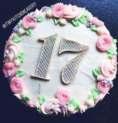 17th birthday - spring blossoms buttercream cake     Www.facebook.com/tinykitchencakery