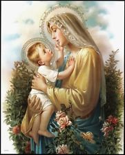 "8"" x 10"" Catholic Art Picture Print Virgin Mary & Child MADONNA OF THE ROSES"