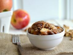 Healthy Crock Pot Apple Crisp Recipe - Nutritional information per serving (about 1/2 cup)  Calories: 275  Fat: 8 grams  Carbohydrates: 42 grams  Fiber: 4 grams  Protein: 2.6 grams  Weight Watchers Points: 7