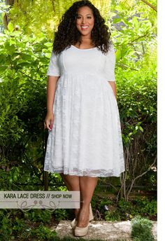 Plus Size Kara Lace Dress .curvaliciousclothes.com. This would be a nice low key wedding dress with the right accessories added.