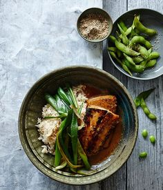 Miso-glazed mulloway with sesame rice and spring onion