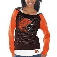 Cleveland Browns Womens Holy Long Sleeve T-Shirt and Tank Top – Brown/Orange