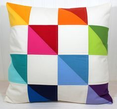 Pillow Cover, Decorative Pillow Cover, Living Room Decor, Rainbow Nursery, Patchwork Pillow, 18 x 18 Inches, Rainbow Patchwork Triangles