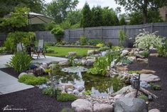 Dining Area with Backyard Pond