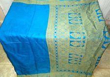 Pure silk Vintage Sari MATERIAL WEDDING 4Y Fu 1473 Bw Blue #ABNIT