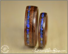 Wood Wedding Rings - Rosewood with Lapis Lazuli Inlays. For weddings, engagements, 5th anniversaries, or as friendship/companion rings.