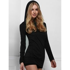 Stylish Black Hooded Finger Hollow Out Long Sleeve Bodycon Dress For Women #women, #men, #hats, #watches, #belts, #fashion