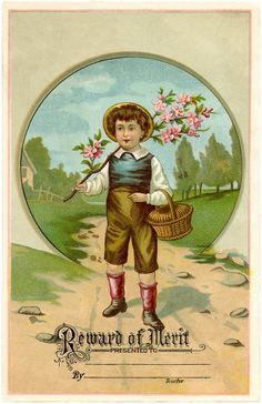 Vintage Reward of Merit Card - Charming! - The Graphics Fairy