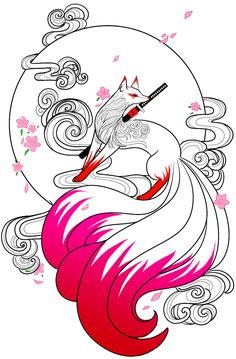 japanese tattoos symbols and meaning Cute Animal Drawings, Kawaii Drawings, Cute Drawings, Fantasy Drawings, Art Drawings Sketches, Japanese Tattoo Art, Japanese Art, Aquarell Tattoo Vogel, Anime Kunst