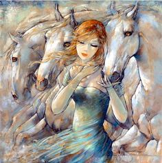 Recent Works - Contemporary Art - Equestrian Art - Gallery equestrian theme paintings - women and horses, horse art, horse paintings - Jeanne Saint Chéron