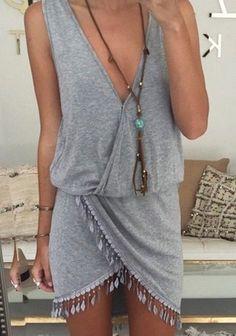 dress boho grey dress fringed dress