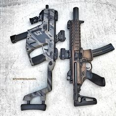 Kriss Vector and I don't know what the other gun is I know that they are both chambered in 9mm