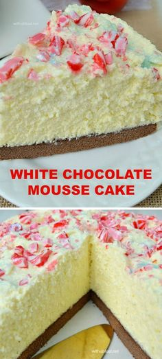 The BEST White Chocolate Mousse Cake EVER ! With a chewy Cake base, creamy Mousse and a taste which will blow you away ~ this is also a make-ahead recipe and yields 12 - 16 slices (use any topping to suit the occasion) Click image to find more popular foo White Chocolate Mousse Cake, Best White Chocolate, White Chocolate Desserts, Chocolate Recipes, Chocolate Chocolate, Best Dessert Recipes, Cupcake Recipes, Baking Recipes, Recipes Dinner