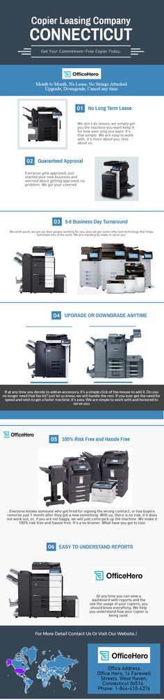 If you need copier leasing service for your office in Connecticut. Our service is to give you the latest technology of copiers and keep it on 12 months' rental followed by a month to month subscription with a cancel any time clause after 12 months. Call us now at 1-844-410-4376, if you are interested or visit our website for more information. http://officehero.me/