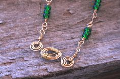 Emerald Green Bead Wire Wrap Necklace  Gold by 2012BellaVida, $22.00