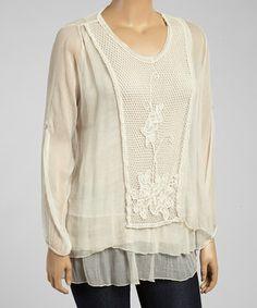 Look what I found on #zulily! Beige Crochet Silk-Blend Tunic by Karamel Collection #zulilyfinds