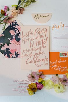 Colorful Mid-Century meets Modern Wedding Inspiration at the W Hotel - Inspired by This Colourful Lounge, Colorful, Wedding Stationary, Wedding Invitations, Invites, Spring Wedding, Dream Wedding, Summer Weddings, Fruity Cocktails