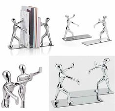 1 Pair-Metal Men Pushing Books Decorative Bookends