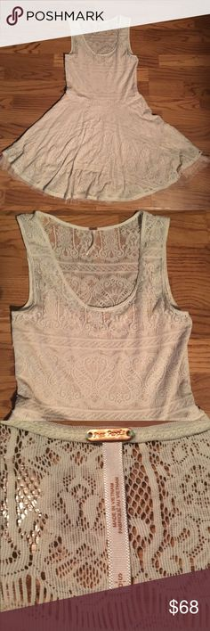 Gorgeous free people lace overlay tulle dress Tank top lace dress with a layer of tulle and lace overlay. Perfect for a bridal shower or every day summer dress Free People Dresses