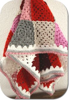 Pink red grey granny square blanket