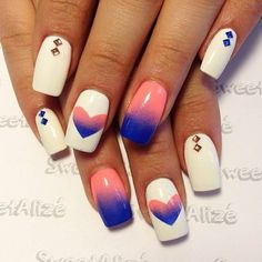 Sweetheart nails by @Thy-Thy Tran Vo  #nailart #nails #whitepolish #heartnails - bellashoot.com