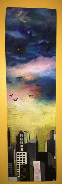 Acrylic painting on reclaimed wood panel
