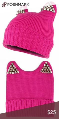 Pussy power hat Pink knit cap with studs, never worn Accessories Hats