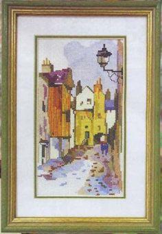 Gallery.ru / Фото #1 - Королевская миля в Эдинбурге - DELERJE Vintage World Maps, Cross Stitch, Embroidery, Frame, Home Decor, Yellow, Home, Punto De Cruz, Drawings