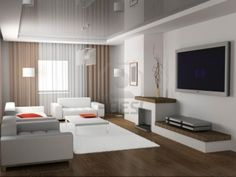 Interesting  Modern Design In Living Room With White Table On Fur Rug Including Sectional White Sofa Also Tv Wall Mount And Wooden Floor Modern Design Can Apply For Many Types of Residence Interior Design http://seekayem.com
