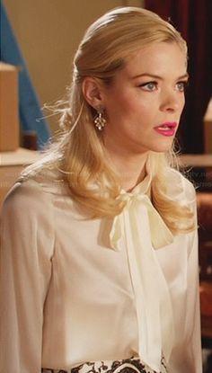 Lemon's white neck tie blouse and paisley skirt on Hart of Dixie. Outfit Details: http://wornontv.net/30162/ #HartofDixie