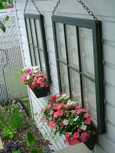 repurposed window frames   Repurposed window frames as planter boxes!   yard ideas