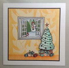 Tv demo card using Through the window stamps, Christmas tree stamps, Dove stencil