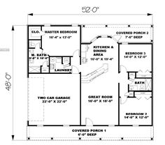 First Floor Plan of Country   Southern   House Plan 64551