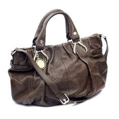 Authentic Celine Brown Leather Two Way Hand Shoulder Bag
