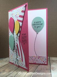 SU Balloon Celebration Collar Card Pink inside