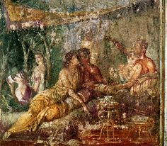 Three couples in a summer triclinium Pompeii. Fourth Style painting, 70 AD.