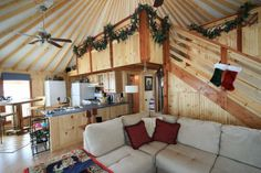 Christmas decorated Yurt- but I hate that ceiling fan