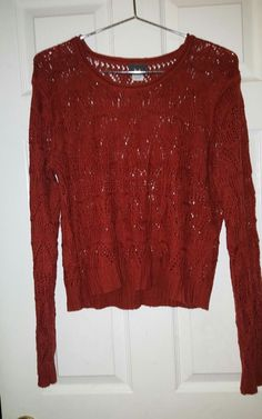 rust colored long sleeve cable knit light sweater  | Clothing, Shoes & Accessories, Women's Clothing, Sweaters | eBay!