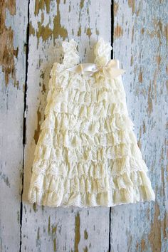 Ivory Lace Ruffle Flower Girl Dress perfect for by PrimCoutureShop, $28.00