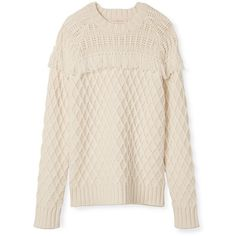 Tory Burch Fringed Wool Fisherman Sweater ($495) ❤ liked on Polyvore featuring tops, sweaters, white, cable sweater, fisherman knit sweater, fisherman sweater, cable knit sweater and white cable sweater