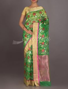 Naisa Leaf Green Blossom In Silver And Gold Real Zari #ChanderiPattuSaree