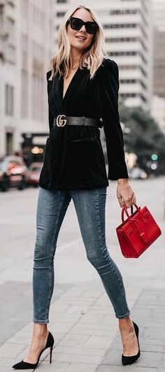 Jeans, black blazer, Gucci belt, red purse, ready for day out in the city.