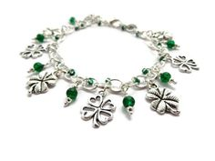 Emerald green lucky 4 leaf clover shamrock charm bracelet makes great St. Patrick's Day Jewellery - handmade in the UK by QuiddityGifts Handmade Crafts, Handmade Jewelry, Silver Shamrock, Good Luck Gifts, Green Gifts, Silver Charm Bracelet, Four Leaf Clover, Turquoise Color, Diy Necklace