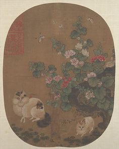 Unidentified Artist; In the style of Luo Zonggui (Chinese, active 1228–1234). Hollyhocks and Cats. Ming dynasty (?) (1368–1644); China. The Metropolitan Museum of Art, New York. From the Collection of A. W. Bahr, Purchase, Fletcher Fund, 1947 (47.18.38) #cats