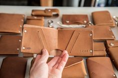 Modern cowboy Evan Lentz ditched his desk job for a chance to craft handmade leather accessories that evoke the Wild West. Leather Wallet Pattern, Slim Leather Wallet, Handmade Leather Wallet, Leather Books, Leather Notebook, Leather Journal, Men's Leather, Custom Leather, Leather Tooling