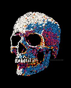 Artist Noah Scalin Make's Skull Using Everyday Object. Cat Skull, Skull Art, Skeleton Art, Skull Wallpaper, Skull And Bones, Dark Art, Sugar Skull, Art Inspo, Street Art