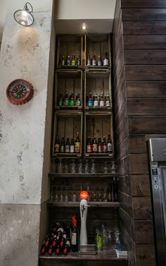 Artisan beers - great looking bar in central athens - industrial - Brewing the Barista - A Visit to The Underdog, Athens Artisan Beer, Interior Design Themes, The Underdogs, Barista, Athens, Wine Rack, Liquor Cabinet, Brewing, Industrial